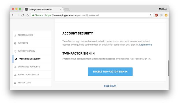 Protect your Fortnite account with two-factor authentication